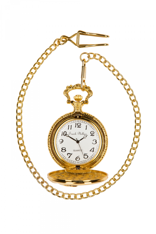 Photo of open Gold coloured Golf Pocket Watch