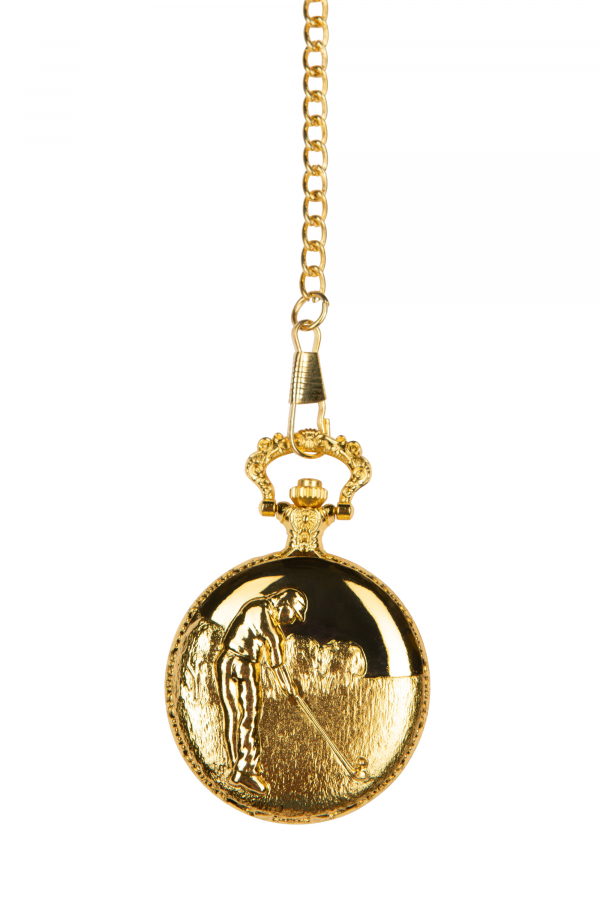 Photo of front Gold coloured Golf Pocket Watch