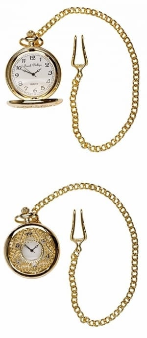 A photo of a gold style filigree design pocket watch