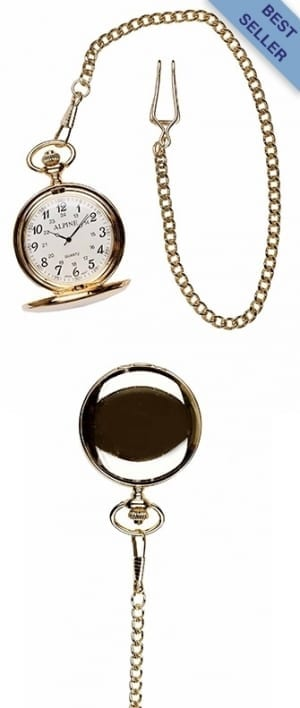 A photo of a plain polished gold style pocket watch