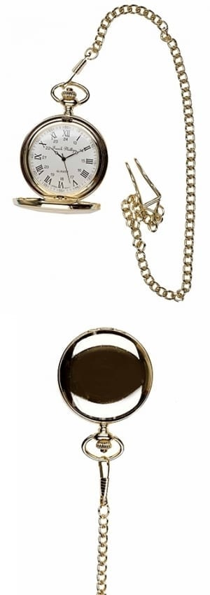 A photo of a plain polished gold style pocket watch with roman numerals