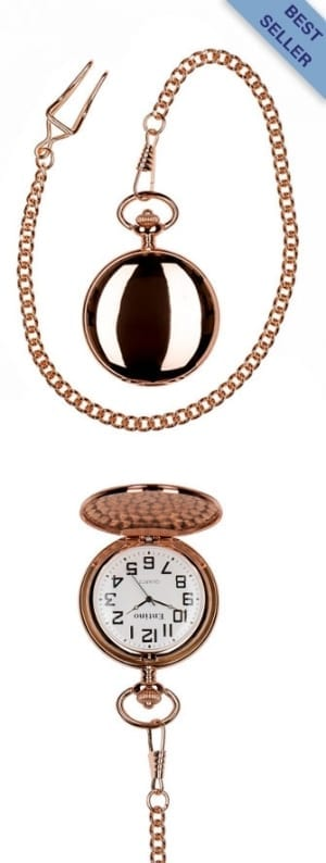 A photo of a plain polished rose gold pocket watch