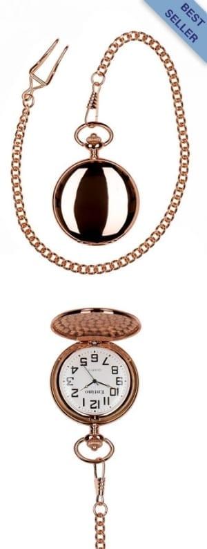 A photo of a plain polished rose gold pocket watch