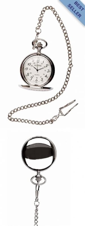 A photo of a plain polished silver style pocket watch