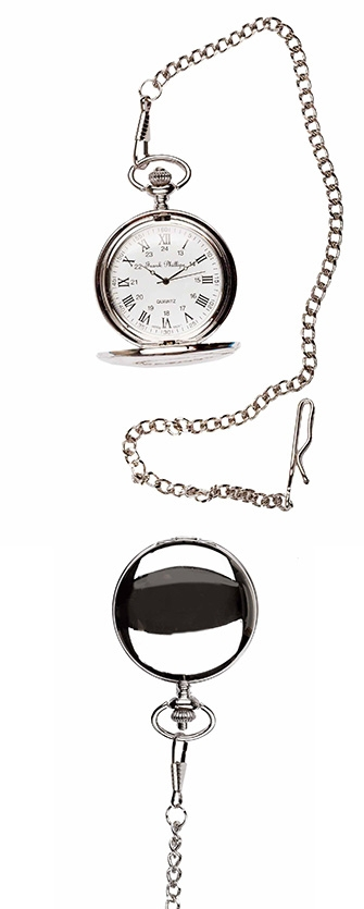 A photo of a plain polished silver style pocket watch with roman numerals