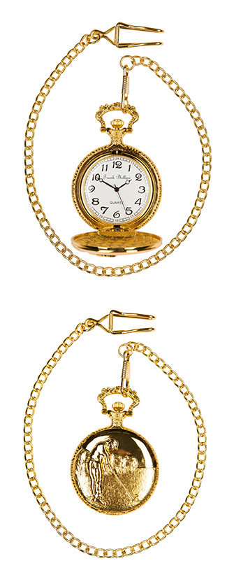 Pocket watch golf scene in Gold colour
