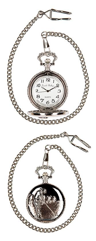 Pocket watch golf scene in silver colour