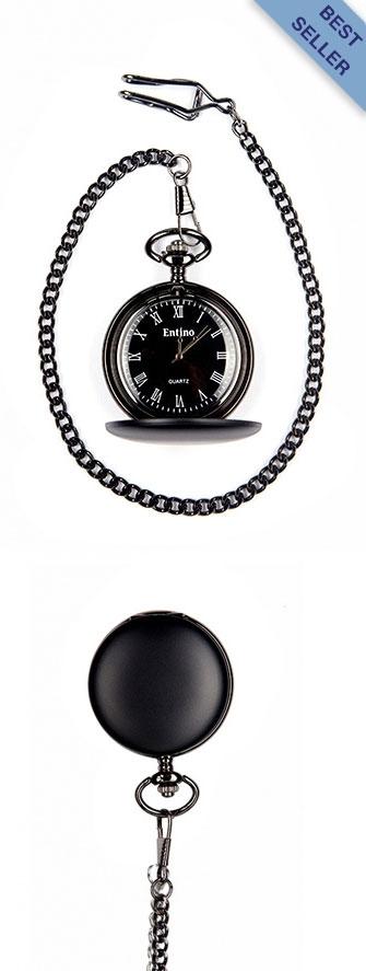 A photo of a matt black style pocket watch